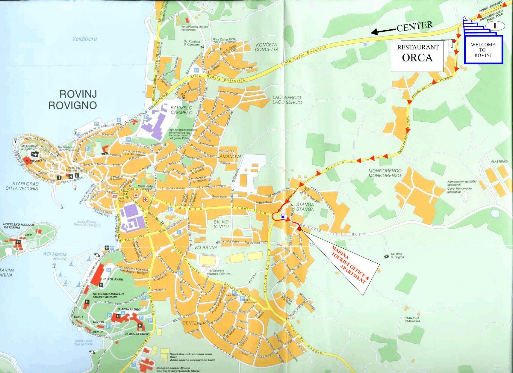 rovinj mapa MARINA   AGENCIJA   APARTMANI U ROVINJU   PRIVATNI SMJEŠTAJ  rovinj mapa